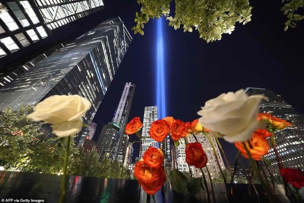 Rosé is seen as a tribute on the 9/11 Memorial, a tribute to the Light Art installation in the sky above Manhattan on Friday night