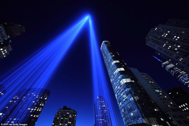 Tribute in Light shines above Manhattan in New York to mark the 19th anniversary of the 9/11 attack