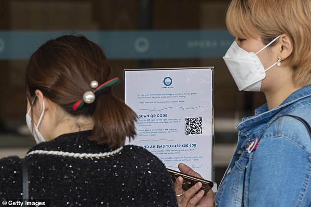 NSW has recorded just six new cases on Saturday with one in hotel quarantine (pictured customers wear face masks at Sydney Opera Bar on Thursday)