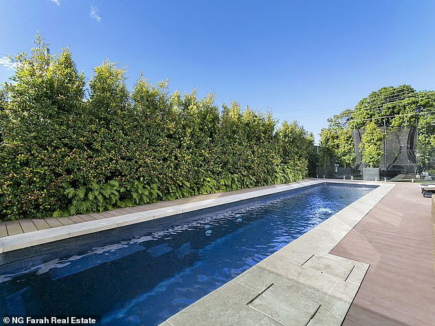 Outdoor living: It also boasts a custom-built skate ramp outside, as well as a herb garden, solar panels and a heated magnesium swimming pool