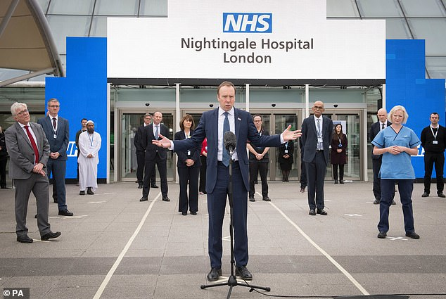 This NHS Nightingale hospitals (pictured, Matt Hancock outside the London one in April) have been mothballed since the first wave of the pandemic
