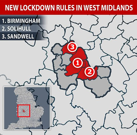 From Tuesday, more than one million people in Birmingham will be banned from mixing with anyone outside of their own household. The rules will also apply to 500,000 people in neighbouring Solihull and Sandwell, where there have been sudden and significant rises in infections