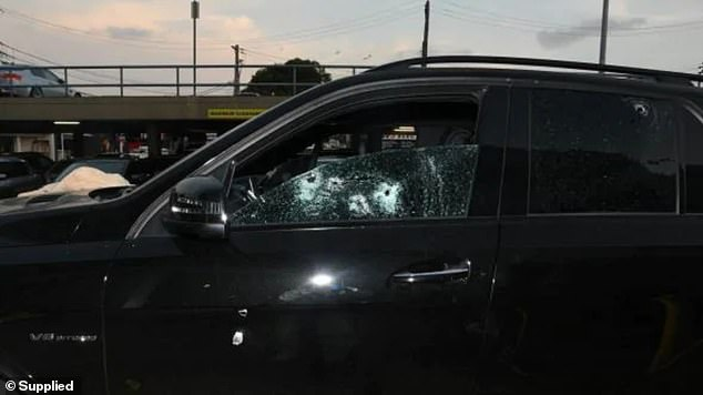 Mahmoud 'Mick' Hawi's bullet-raddled black Mercedes, in which he was gunned down in February 2018, his life destroyed minutes after a work out in Rockdale, Sydney