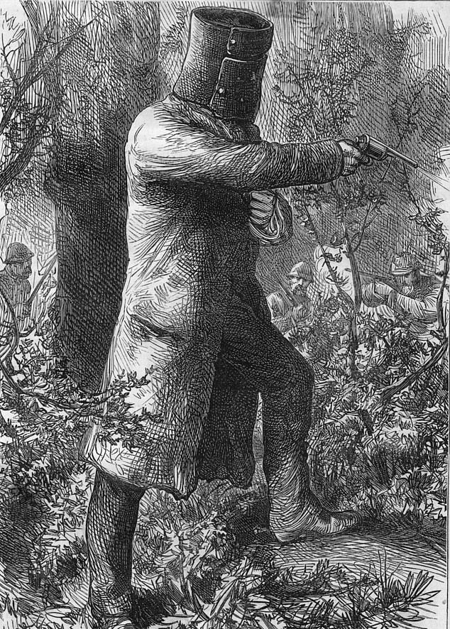 The Kelly Gang seized the town of Glenrowan in the Warby Ranges on June 28, 1880 with failed plans to derail a police train coming from Melbourne. Kelly (in sketch above) confronted police in a suit of armour but was shot in the legs