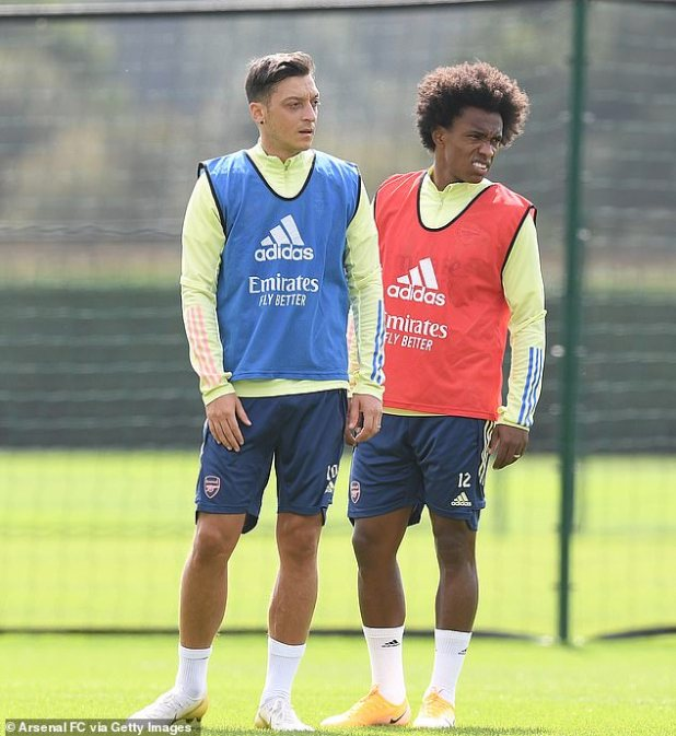 The report also suggested that Arteta could deploy the newly signed Willian (right) in a central role