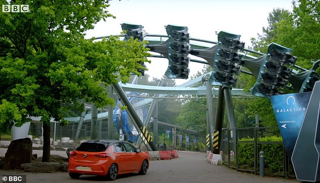 Empty:In a different scene, the trio test out electric cars in an empty Alton Towers Theme Park with Paddy in a Vauxhall Corsa E, Freddie in a Mini E and Chris in a Honda E