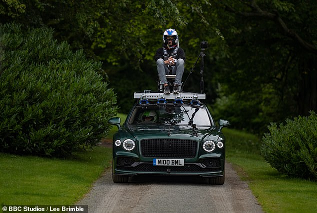 Hold on!Another adrenaline-pumping challenge sees the trio strapped in chairs to the top of different vehicles as they zoom around empty roads