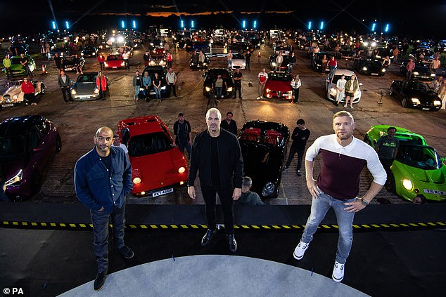 Chaos:The upcoming series only resumed filming in June after the coronavirus pandemic halted production, they released pictures from the set in September with a 500-strong audience watching from their cars and the presenters spread out (pictured)