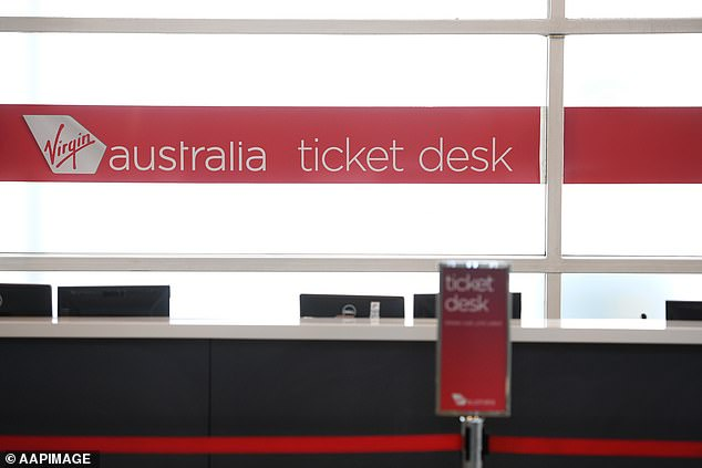 Virgin Australia's empty ticket desk. Airlines are struggling under pandemic border closures