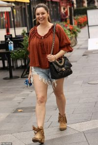 Kelly Brook puts on a VERY leggy display in ripped denim hotpants in London