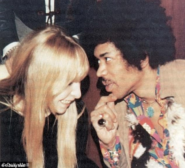 She was 'very upset' as she watched the team attempt to revive Hendrix from the other side of the door, he said. Pictured: Monika Dannermann and Jimi Hendrix