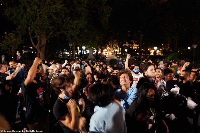Large crowds of young revelers again gathered in Manhattan's Washington Square Park to party on Friday night