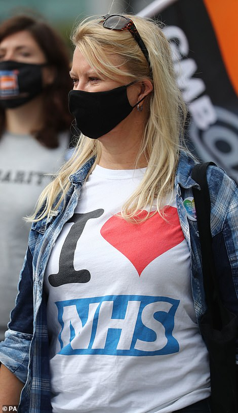 A protester takes part in a march in Brighton