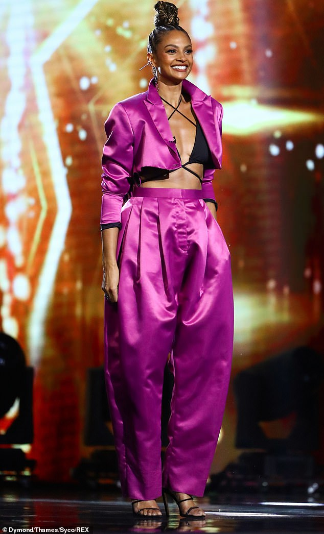 Vision in pink: The Britain's Got Talent judge, 41, was in high spirits as she strutted onto the stage and rocked her striking ensemble