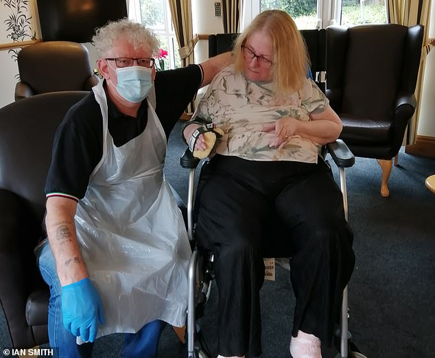 Devoted: Ian with his wife Sylvia, whorapidly became wheelchair-bound. After finding her a place at a nursing home in nearby Leicestershire, he was by her side for up to six hours a day