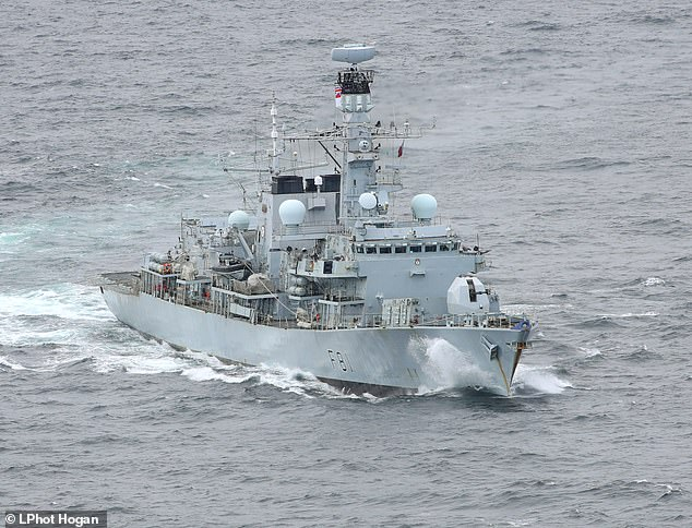 Pictured: The HMS Sutherland during operations with the USS Ross and RFA Tidespring off the North Coast of Scotland