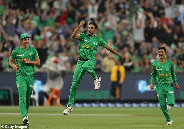 Haris Rauf from the Melbourne Stars celebrates after taking a hat trick against the Sydney Thunder in January