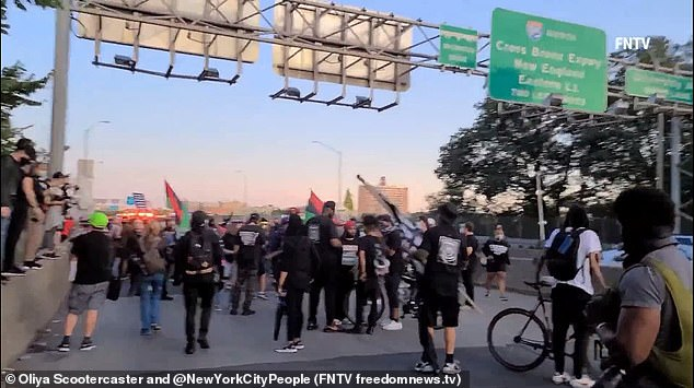 A group of around 100 protesters blockaded the George Washington Bridge in New York