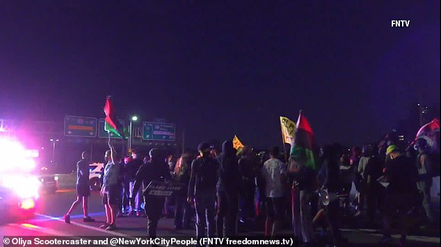 BLM activists on Saturday stopped traffic between New Jersey and Manhattan