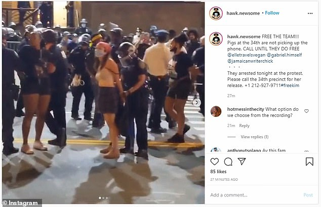 Hawk Newsome said that three people had been arrested during the protest