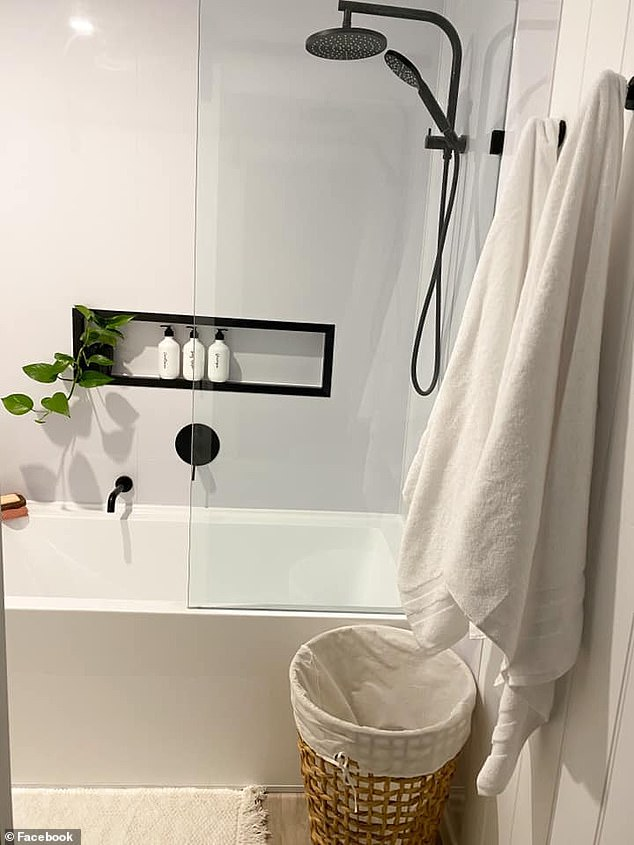 AFTER: Thousands who saw the transformation on Facebook were impressed with the results, saying it had inspired them to do their own bathroom (pictured after)