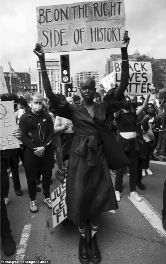 Kate Middleton has unveiled more images selected for her community photography project at the National Portrait Gallery - including a photograph of a Black Lives Matter protester (pictured)