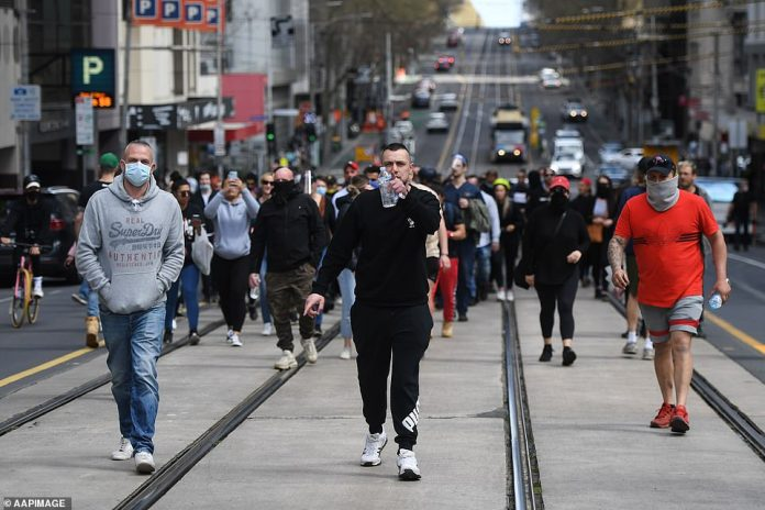 Protesters marched through the CBD, some without masks, as fed-up citizens demand stage four restrictions be eased