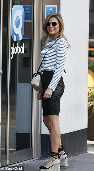 Strutting around: wedge espadrilles injected summer chic into her outfit