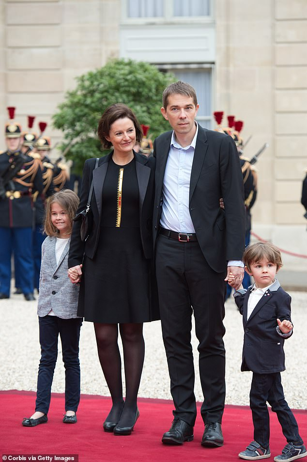 Brigitte Macron's first child, SébastienAuzière with his wife and their children on the day Emmanuel Macron became president