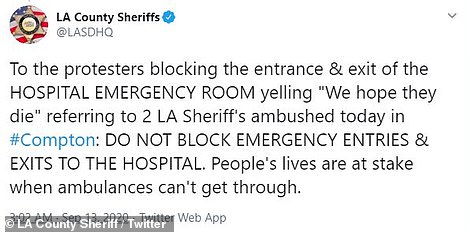 On Sunday, the LA County Sheriff's Office tweeted about the protests outside the hospital