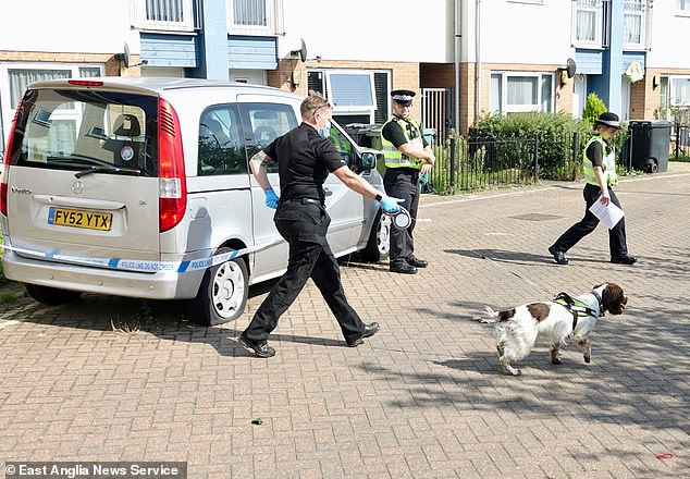 Specialist forensic officers were seen going in and out of the house along with a police dog handler and a spaniel sniffer dog