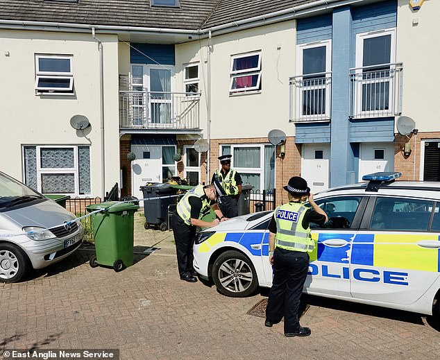 Police were seen outside Bernadette's family home in Millfield, Peterborough on Sunday, as a man and a woman remain in custody on suspicion of murder