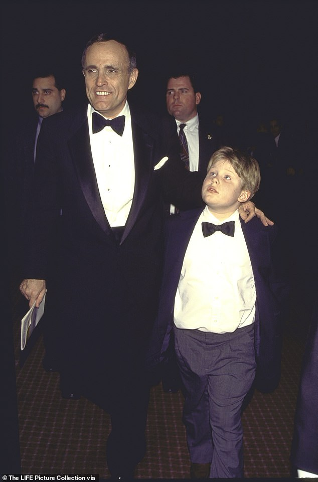 Andrew, pictured as a child (right), said he could only support a New York City mayoral candidate that followed the 'Giuliani playbook' for governing the city