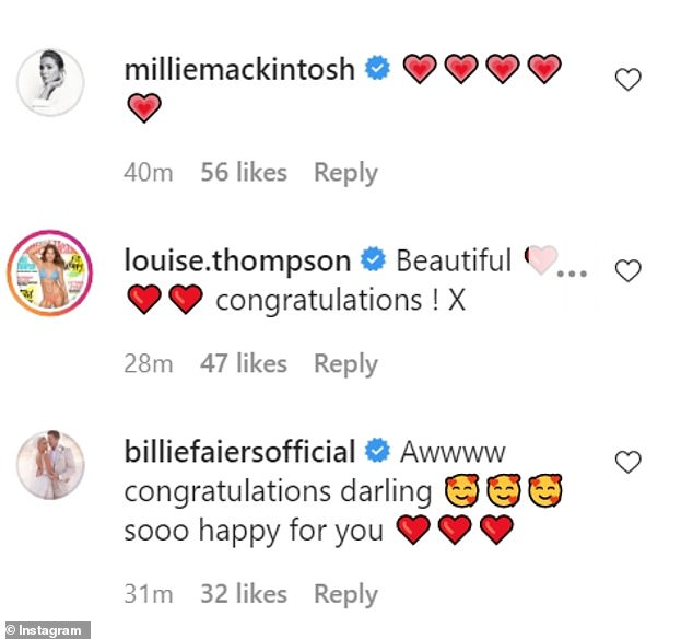 Delighted:Binky's celebrity pals took to her comments to share their congratulations and well wishes after seeing the news