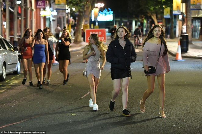 PORTSMOUTH: Hundreds of people enjoy a Saturday night on the town at the pubs and bars on Guildhall Walk in Portsmouth, Hampshire