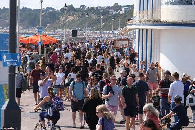 Beach goers packed out the roads in Bournemouth before the 'rule of six' restrictions come into force on Monday, further limiting social contact with groups