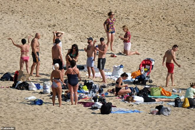 In Bournemouth, swathes of sun worshippers lined the roads and filled the beaches to enjoy the heatwave