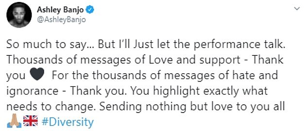 Statement: Ashley also wrote last Sunday, just hours after the performance aired, 'So much to say... But I'll Just let the performance talk...'
