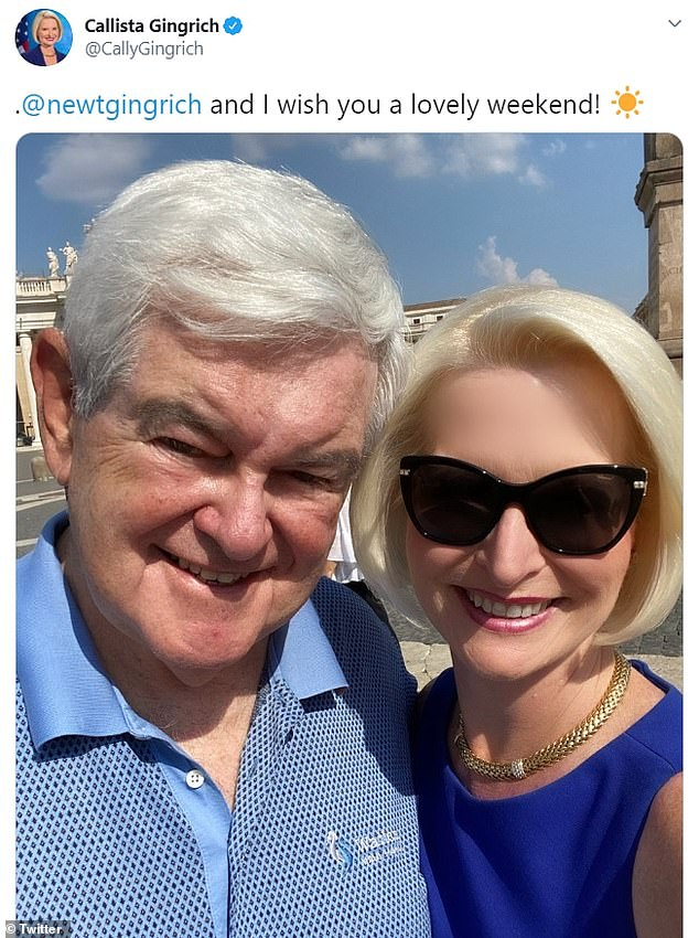 Newt Gingrich's wifeCallista Gingrich, 54, is being mocked on Twitter for her poorly edited photo she shared on Saturday where she smoothed out her skin and blurred her forehead to appear younger, but left her husband's face untouched
