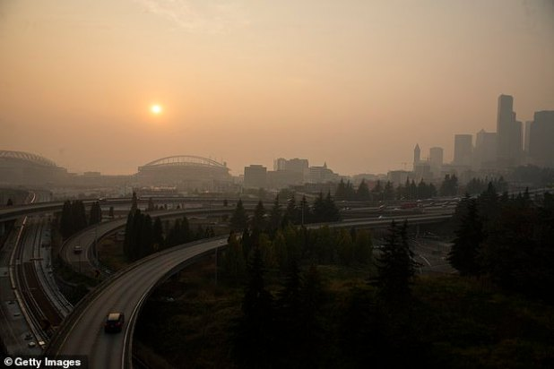 According to IQAir.com, which tracks air quality worldwide, Seattle (pictured), Portland, San Francisco and Los Angeles are all the worst in the world.