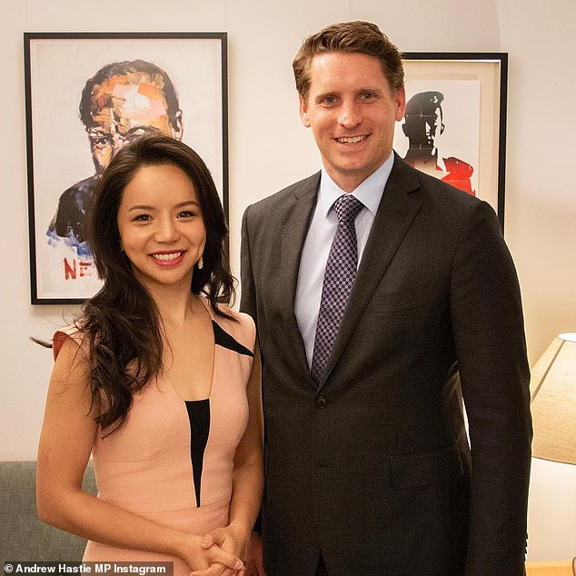 Liberal MP Andrew Hastie pictured right. He has been mentioned along with members of his family by the Chinese database