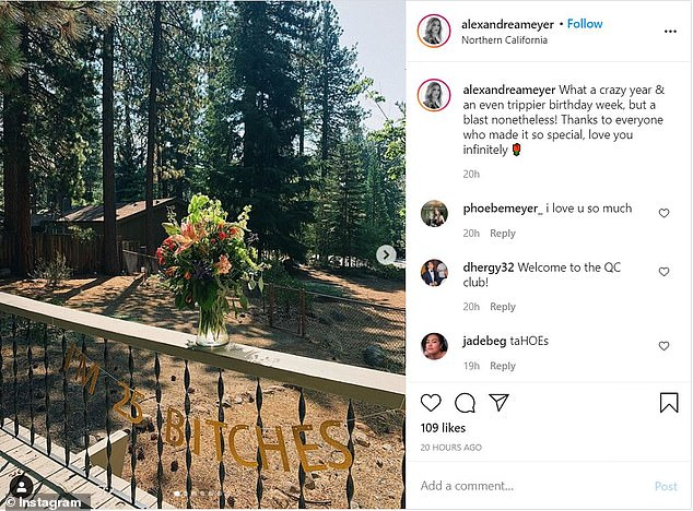 She visited Northern California for a friend's birthday and which was described as 'a blast' in a social media post on Saturday