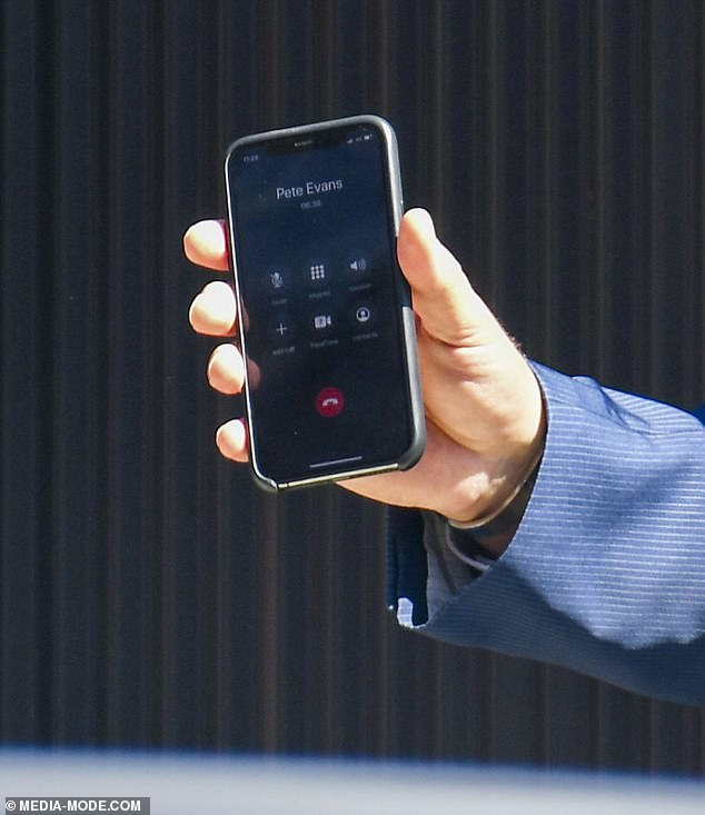 Listening in:Pete's name could be seen on the iPhone screen as one of the real estate agents held the device up during the proceedings