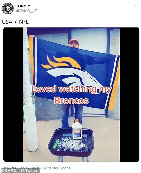 One Denver Broncos fan decided to burn his team's flag