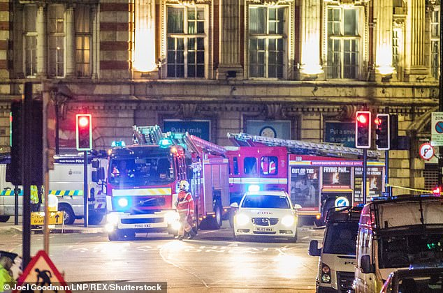 Mr Atkinson was able to speak and had a pulse for more than an hour but ambulance delays meant he was not seen until 54 minutes after the blast. Pictured: Emergency services arrive at the scene of the explosion