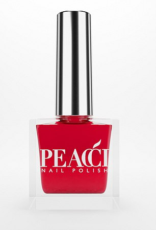 A bright red polish sold by Peacci