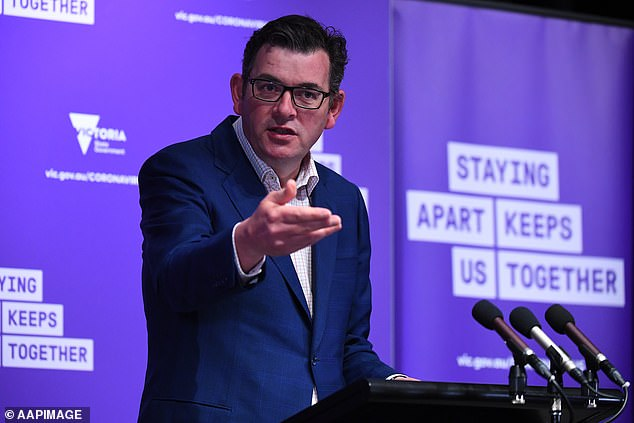 Victoria on Monday recorded 35 new coronavirus cases and seven deaths, as Melbourne takes its first tentative steps out of lockdown. Pictured: Premier Daniel Andrews