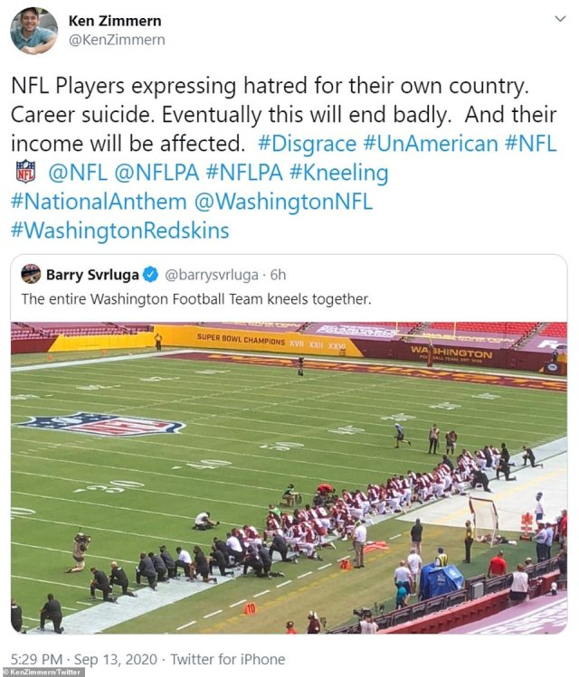 One man believed the line NFL teams were taking would see it 'end badly' suggesting it was 'career suicide' for those taking part