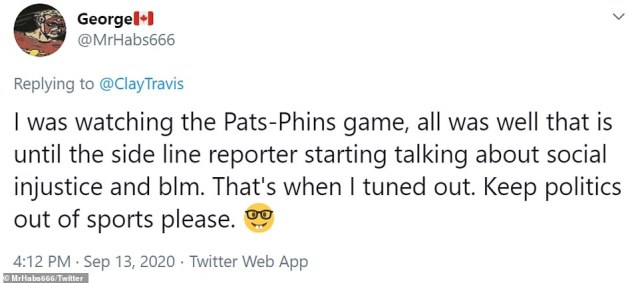 One Twitter user seemed to beg for the NFL and coverage of the games to keep politics out of sports