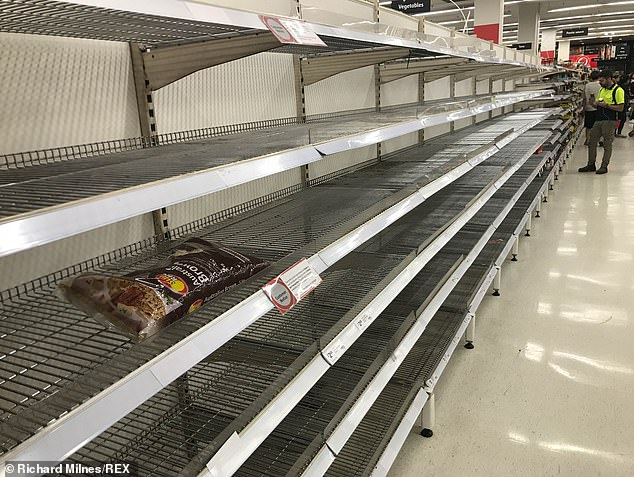 Australia is facing a rice shortage with the country predicted to run out of the homegrown food staple by Christmas (pictured, COVID-19 panic buyers stripped supermarket shelves in March)